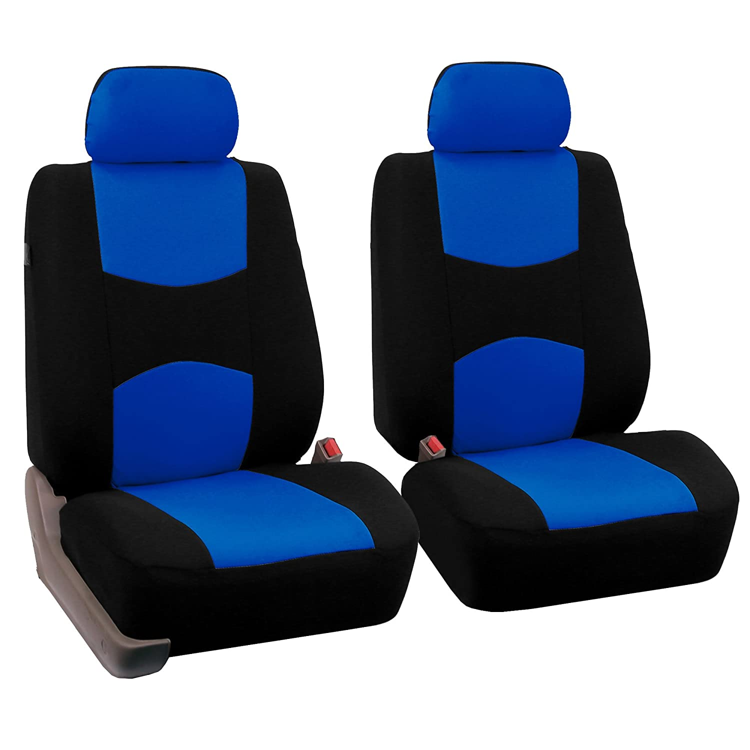 Fh group universal fit full set flat cloth fabric car seat cover blue black fh fb050114 fit most car truck suv or van accessories amazon canada