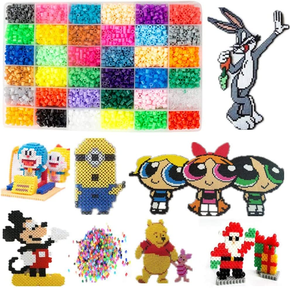 Pattern Cards Tweezers 120 Patterns Best Christmas Birthday Toys Gift for Girls Boys 5 Years Old Tickas 10000 Fuse Beads Set 36 Colors Fuse Beads Kit 5mm DIY Art Craft Toys for Kids with Pegboards