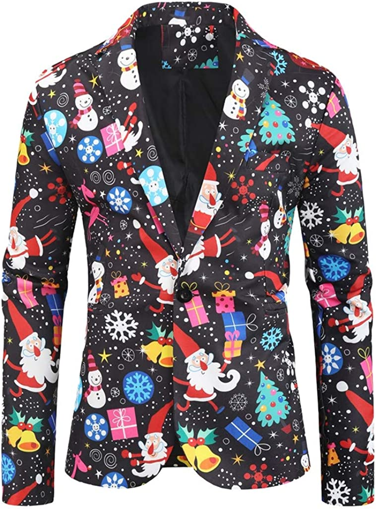 Luckycat Trajes de Navidad Chaqueta de Traje para Hombre Nuevo Santa Impreso Chaqueta Estampada de Manga Larga Dashiki Cardigan para Hombre Traje Blazer Abrigo Tops