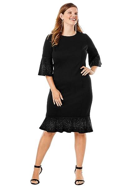 Roamans Women\'s Plus Size Bell-Sleeve Ponte Dress