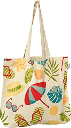 JAZABELLE - Reusable Canvas Tote Bags with Inner Pocket - Grocery, Gym, Library, Work, Uni, Shopping, Picnic and Brunch Bag with Long Handles - Cotton Washable & Eco-Friendly