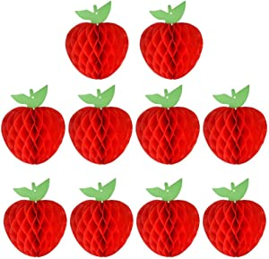 10 Packs Honeycomb Tissue Paper Apple, Kalolary Hanging Paper Apple Fruit Decoration for School Garden Room Baby Shower Birthday Party Decorations, Red (4 Inch)