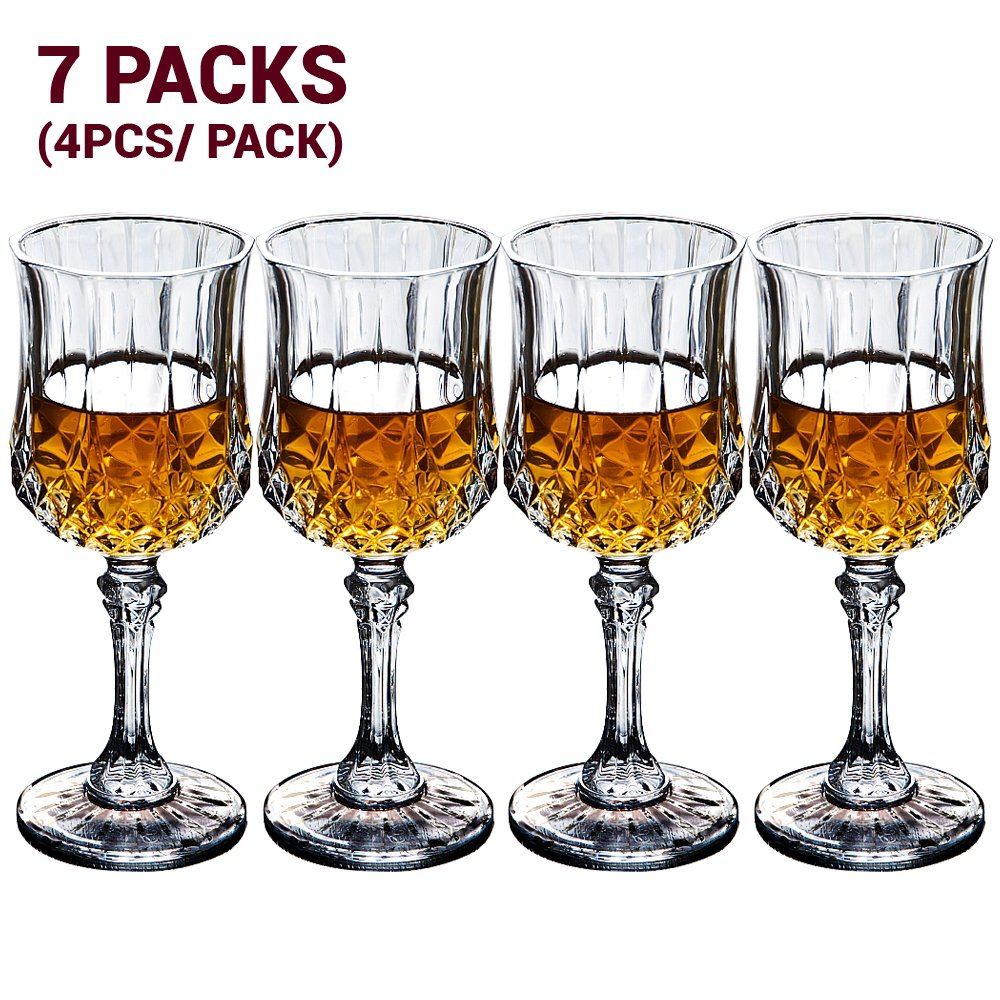 7.9 Ounce Crystal Wine Glasses 7 Sets (Total 28 Pieces)