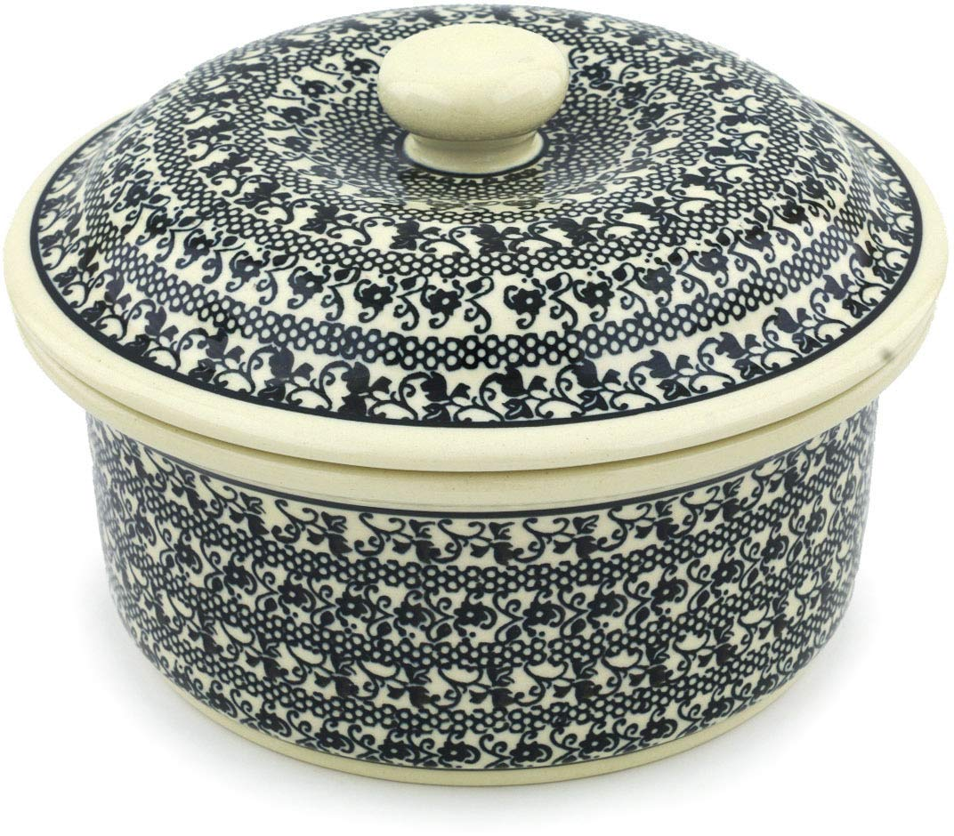 Polish Pottery 7¾-inch Dish with Cover (Black Lace Theme) + Certificate of Authenticity