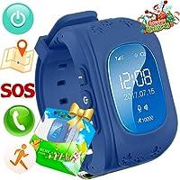 Reloj para Niños,TURNMEON Kids Smartwatch GPS Tracker con Localizador para Niños Niñas SIM Anti-perdida SOS Compatible con Android/IOS Smartphone (Azul Oscuro)