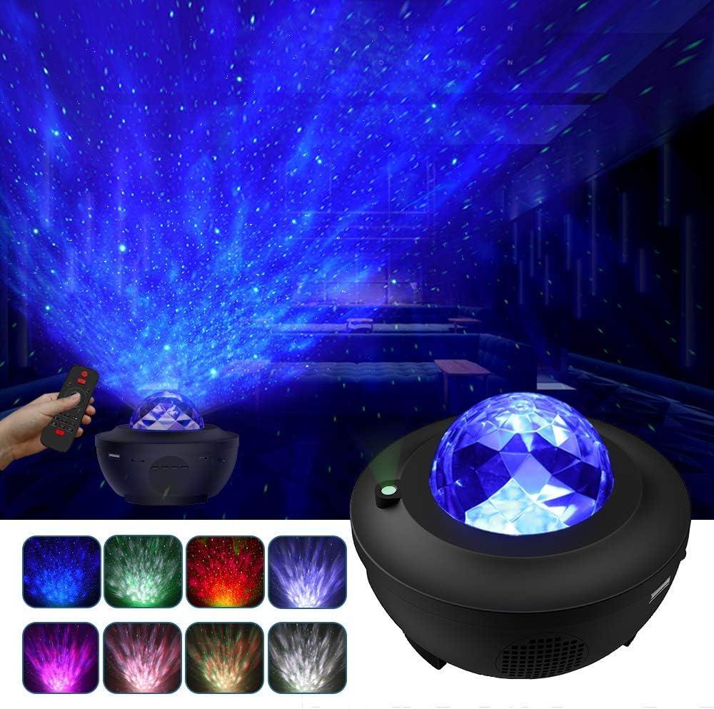 LBell Lámpara Proyector, Lámpara de Nocturna Estrellas & Océano 2 in 1 con Rotación y Música, Temporización y Remoto Bluetooth 10 Modos de Luz planetario proyector estrellas para Cumpleaños y Fies