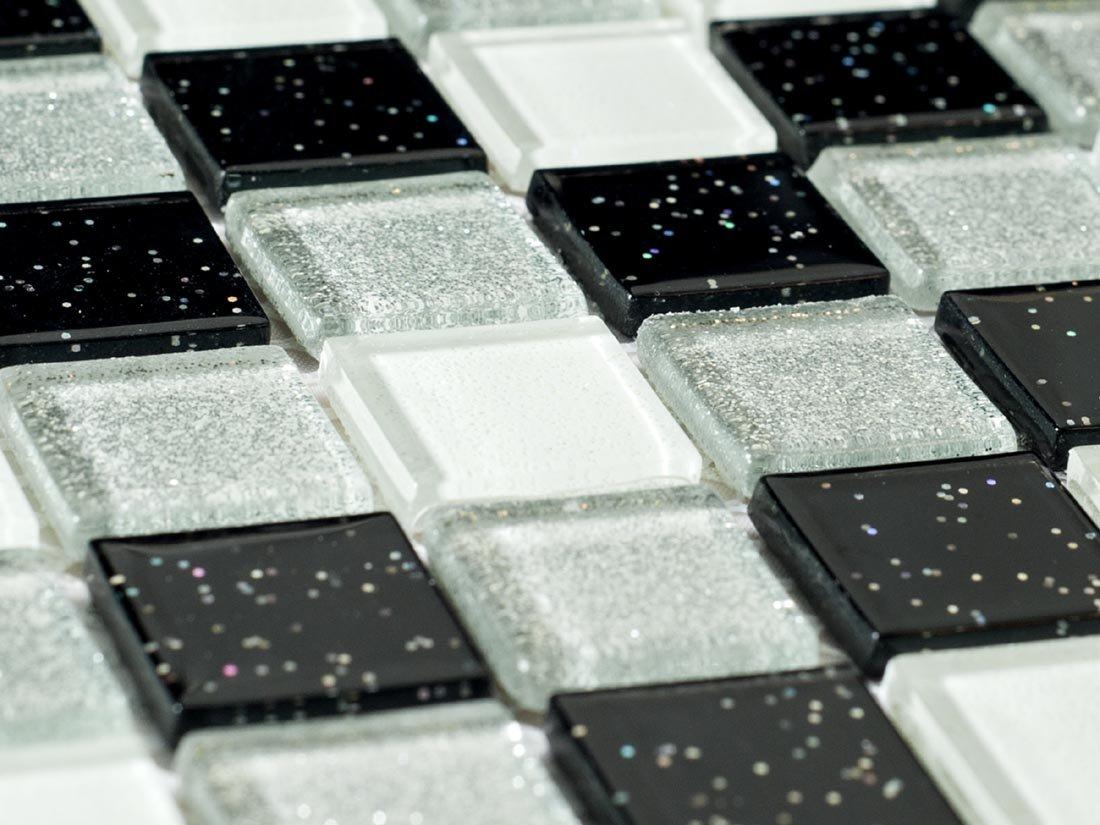 Vetro mosaico piastrelle opaca in nero bianco e argento con