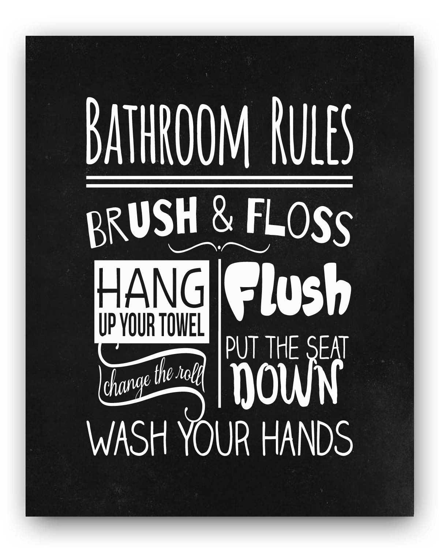 Amazon Com Cute Chalkboard Style Bathroom Rules Wash Brush Floss Flush Childrens S Bathroom Art Bathroom Wall Decor Bathroom Decor Kids Bathroom Sign Bathroom Print Handmade