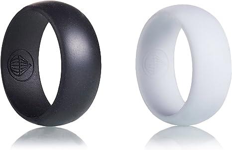 Airdrop supervivencia para hombre Anillo de silicona – 2 Pack Bundle – Negro y Blanco – anillos de boda – Gimnasio – trabajo – al aire libre – seguridad, Blanco y Negro: Amazon.es: Deportes y aire libre