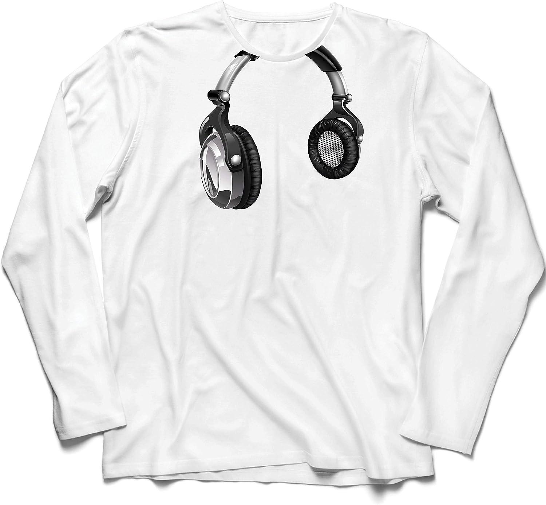 lepni.me Camiseta de Manga Larga para Hombre Regalo de DJ para los Amantes de la música Música Retro, Electrónica, Auriculares Imprimir