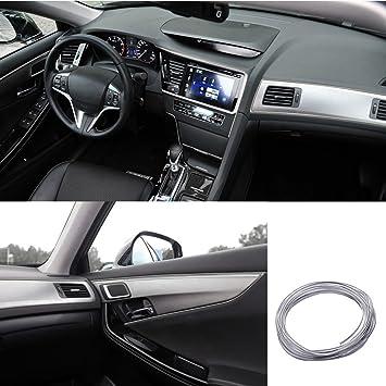 5M Flexible Trim For DIY Automobile Car Interior Exterior Moulding Trim  Decorative Line Strip (Silver