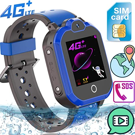 Upgrade Kids Smart Watch Phone 4G LTE GPS Tracker for Boys Girls Toddler [Free SIM Card]Waterproof Watch SOS Remote Alarm Camera Video Chat Step Touch ...
