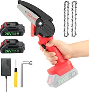 Mini Cordless Pruning Saw With 2x Battery, SeeSii Electric Pruning Saw Portable Pruning Shears Saw, 26V Rechargeable Battery Operated Pruning Chain Saw for Tree Trimming Branch Wood Garden Tool