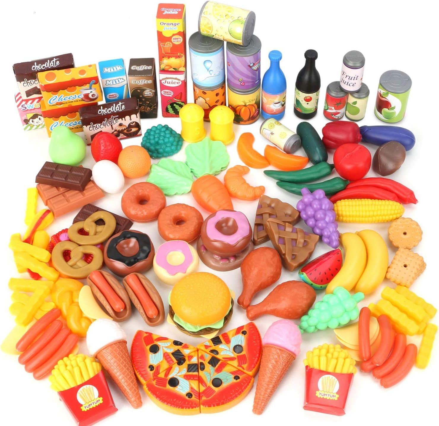 Magicfun 139 Piezas Juguetes de Comida, Alimentos Juguetes Plástico de Cocina Gran Variedad de Frutas y Verduras, Juguete Imitación de rol para Niños Niñas más de 3 Años