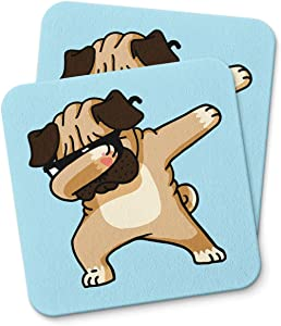 Pug Dabbing Funny Dog Lover Coaster For Drinking Coffee Tea Beverages Mug Cup Kitchen Home Décor Gift Coasters Funny Home Decor gifts PACK/SET OF 2