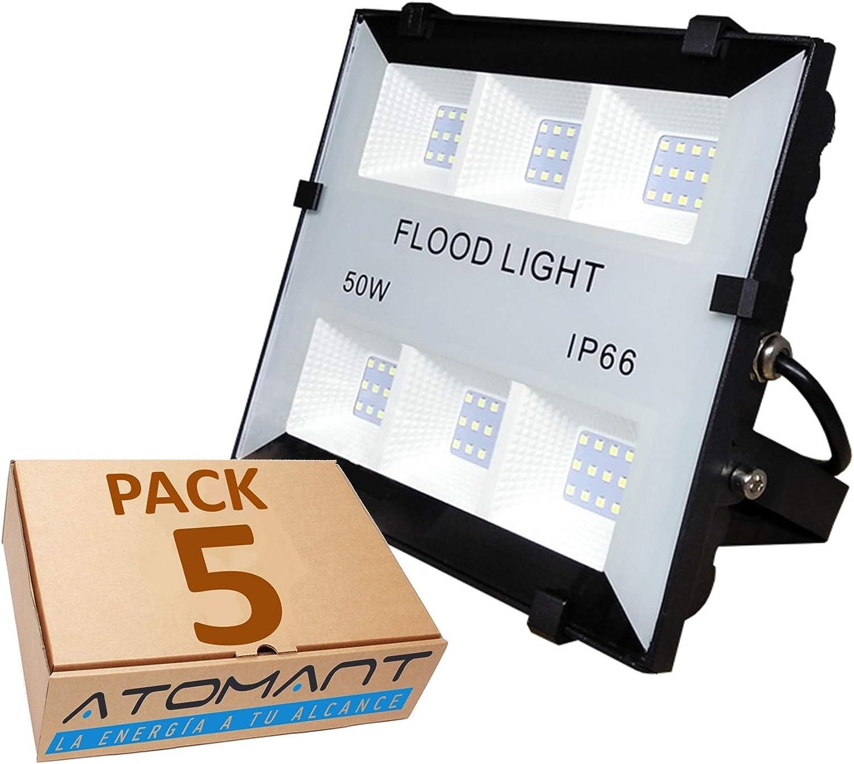 Pack 5x Foco Proyector Led Slim 50w. Color Blanco frío (6500K ...