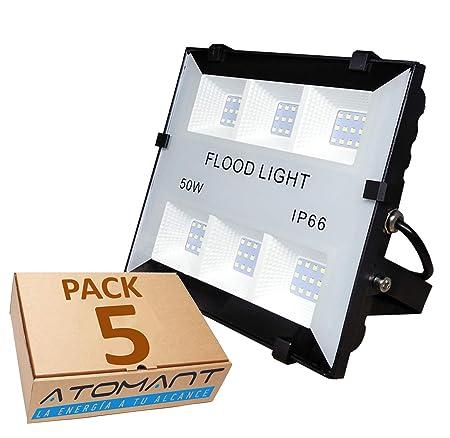 (LA) 5x Proyector Led 50w, Color blanco frío (6500K). Foco para Exterior Iluminación Decoración 6500k IP66. Negro (5)