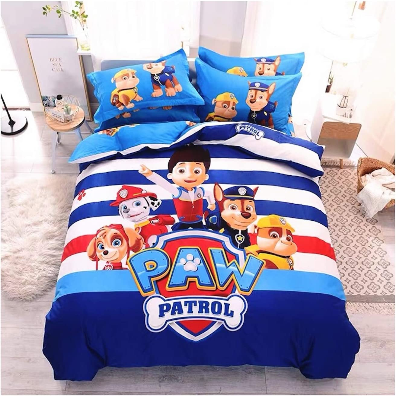 Peachy Baby Featuring Paw Patrol Bedding Sheet Set Queen King Twin Double Full Size 【Free Express Shipping】【100% Cotton】 Cartoon Ryder Chase Marshall 【No Comforter Included】 (Queen/Double/Full Size)