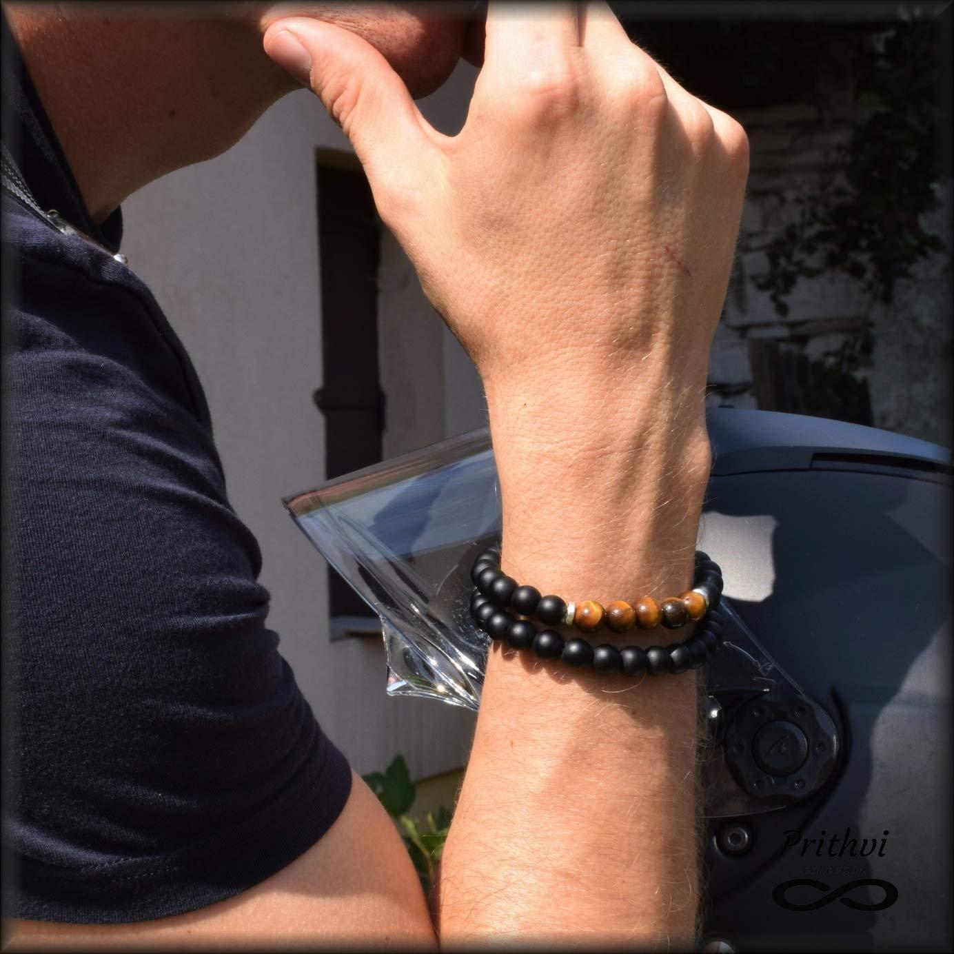 Dos pulseras masculinas - Ónice (8 mm), Ojo de Tigre (8 mm)