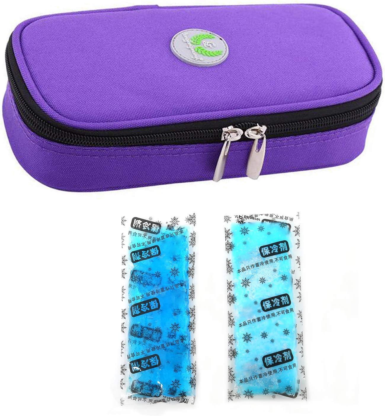 Bolso portátil del refrigerador del organizador de la insulina, bolso del refrigerador del viaje de la caja del protector médico con paquete de hielo para el diabético (Púrpura + 2 Bolsas de