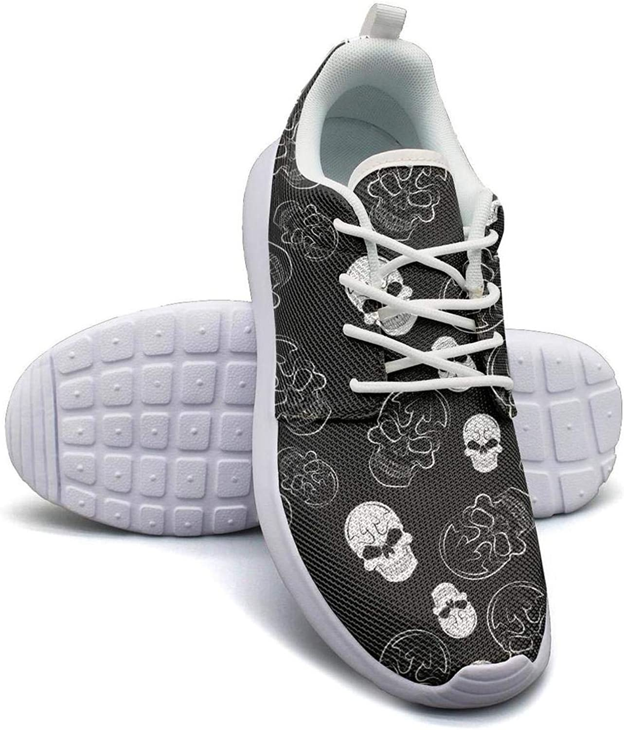 Hobart dfgrwe Black Skull Pattern Lady Flat Bottom Casual Shoes New Basketball Shoes