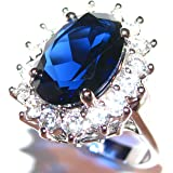 Ah! Jewellery Stunning World Class Finest SO SPARKLY Lab Diamonds Kate Middleton Engagement Ring. Surrounding An Elegant Sapphire Royal Blue 14.1mm Centre Stone. 20mm Total of 5.9gr. Rhodium Bonded.