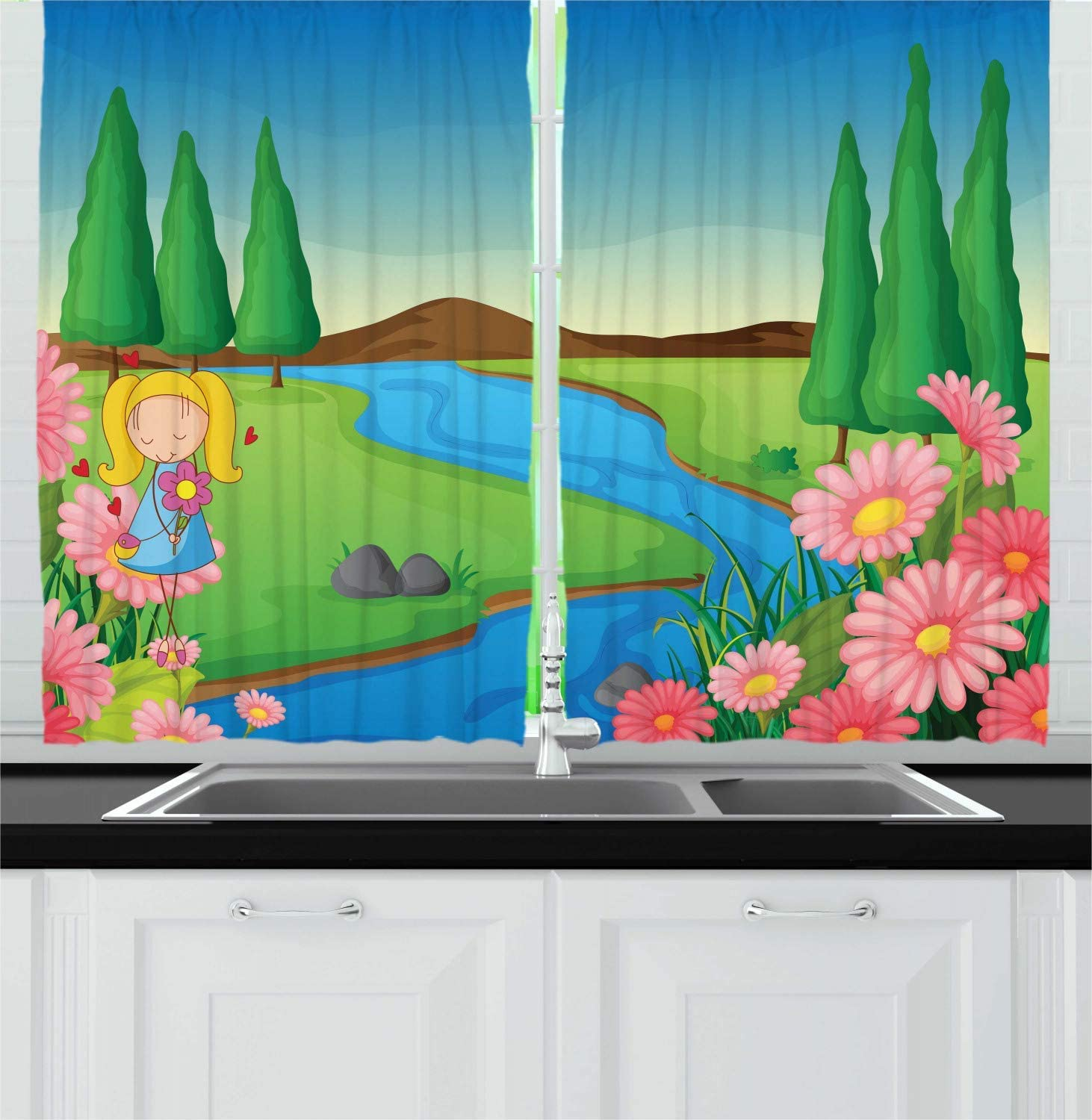 Window Drapes 2 Panel Set for Kitchen Cafe Decor FAFANIQ Nursery Kitchen Curtains Multicolor,57 * 47 inch Cartoon Style Illustration of a Little Girl in Calming Nature Green Fields River