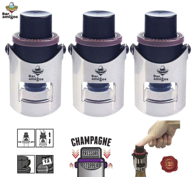 Bar Amigos , Triple Value Pack of 3 Champagne Pressure Stopper Sektflaschenverschluss Sekt und Champagnerflaschen Vorteilspaket 3 Stü ck Sekt Druck Stopper, violett, grau, rot, Saver Pumpe Sealer Innenkonservierer, mit patentierter Technologie und inn