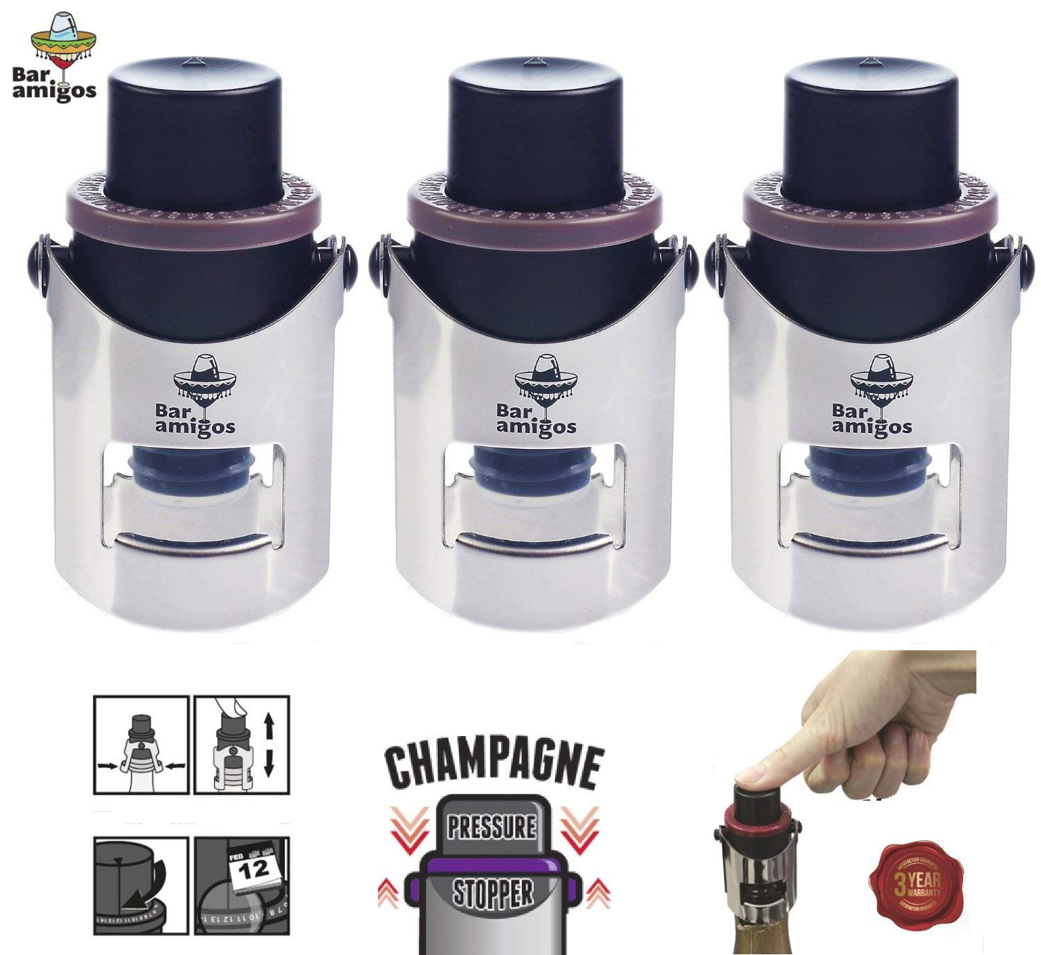 Bar Amigos Triple Value Pack Of 3 Champagne Pressure Stopper - Purple Grey Red Set Saver Pump Sealer Switch To Keep Your Bottle Of Sparkling Wine Champaign Fresh For 7 Days