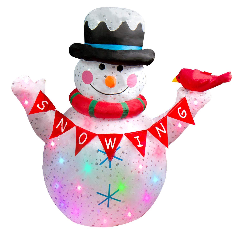 CCLIFE LED Schneemann weihnachtsmann aufblasbar beleuchtet 120/180 cm Weihnachtsfigur Nikolaus Wasserdicht groß,Fröhliche Weihnachten!, Farbe:Weiß008-120cm Fröhliche Weihnachten! Farbe:Weiß008-120cm