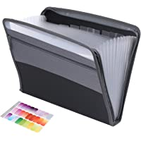 ActFaith Expanding File Folder with Zipper Closure 13 Pockets Accordion Expanding File Document Organizer with Sticky…