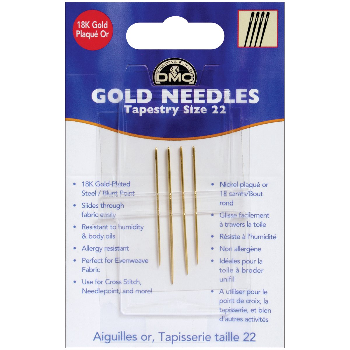 DMC 6131 Tapestry Hand Needles, Gold, Size 22 Notions - In Network