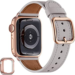 MNBVCXZ Compatible with Apple Watch Band 38mm 40mm 42mm 44mm Women Men Girls Boys Genuine Leather Replacement Strap for iWatch Series 6 5 4 3 2 1 iWatch SE (Light gray/Rose gold,42mm 44mm)