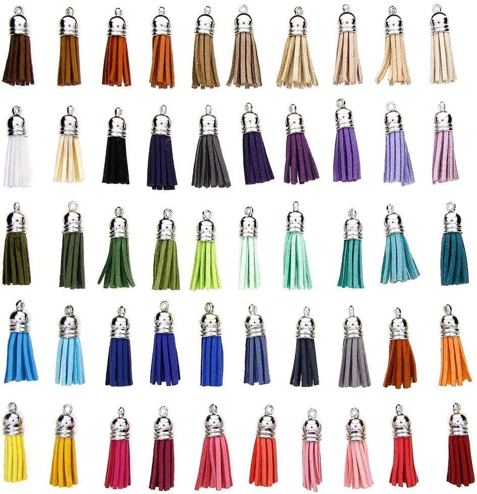 Rmeet Colgantes de Borlas,100 Pack Mini Borla de Cuero con Gorra para Hacer Artesan/ías de Llaveros Fabricaci/ón de Joyas de 40 mm Colores Surtidos