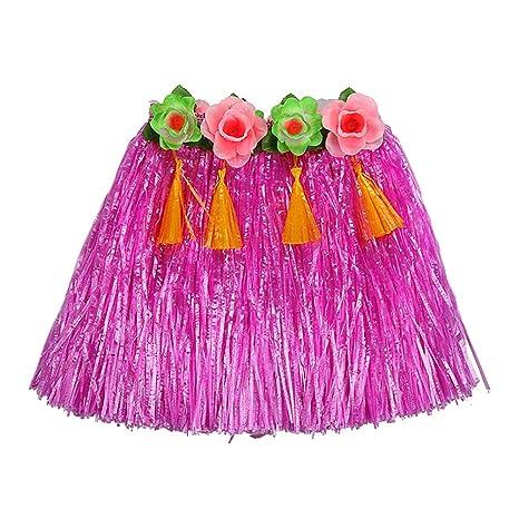 Falda elástica hawaiana con hierba para baile, falda de flores ...
