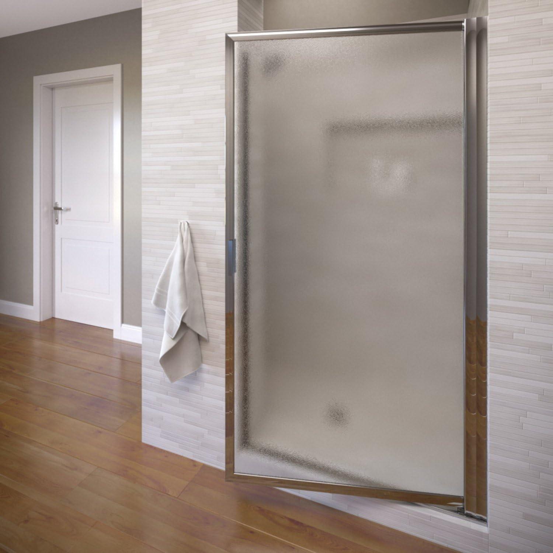 Basco Sopora 31.125- 32.875 in. Width, Pivot Shower Door, Obscure Glass, Silver Finish
