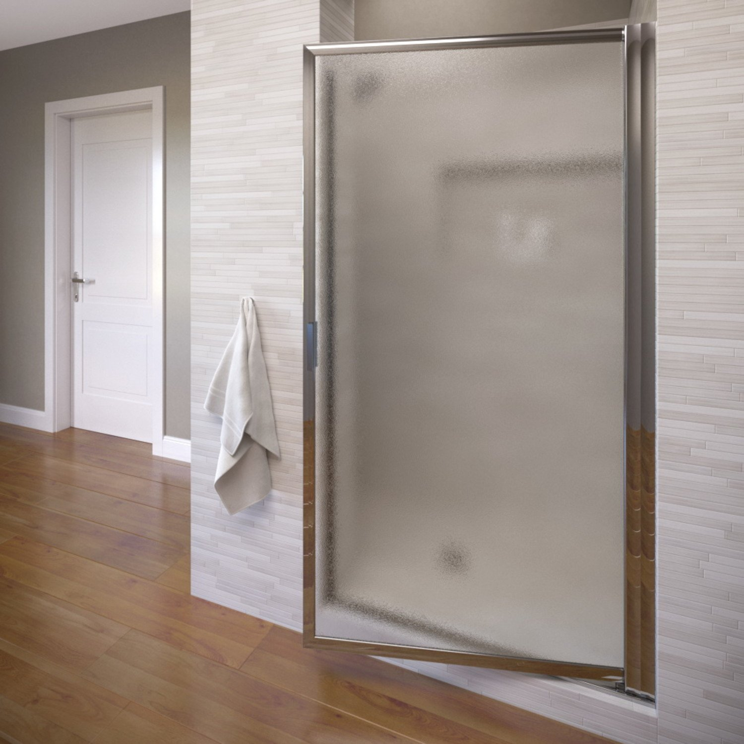 Basco Sopora 27.75- 29.5 in. Width, Pivot Shower Door, Obscure Glass, Chrome Finish