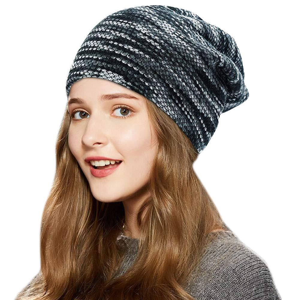 198ae962dd8 UKLink Beanie Hat Men Women Warm Knit Hat Oversize Skull Cap Male Female  Skiing Running Hiking