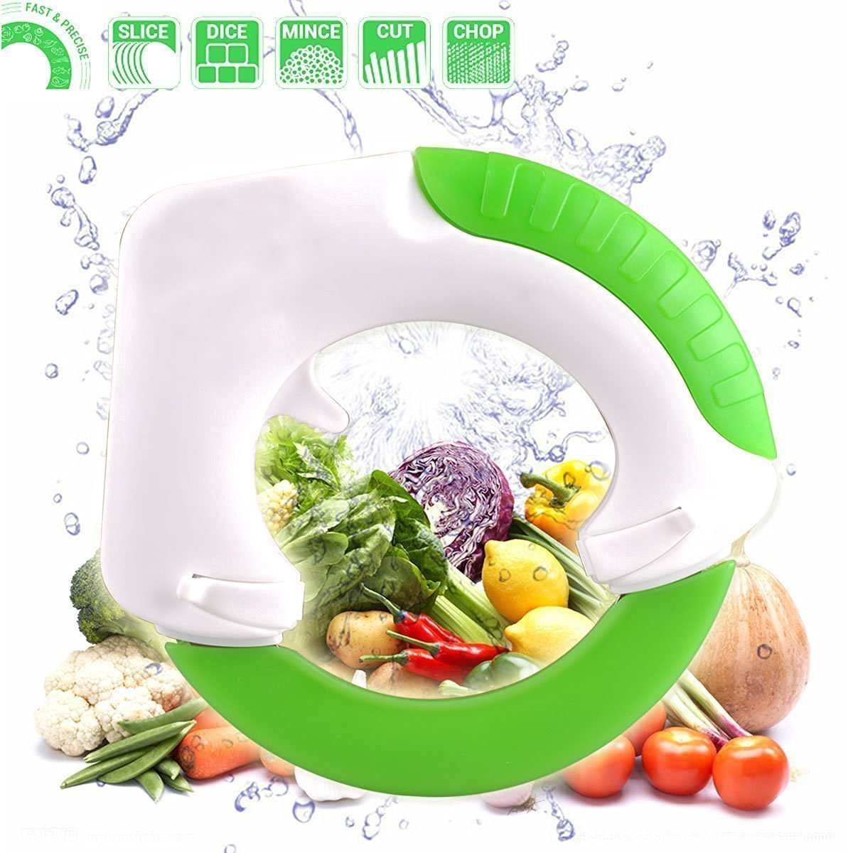 HNIWARE Circular Rolling Knife Multi-Purpose Cutting Tool with Unique Ergonomic Design - FAST & EASY for cutting Meat, Salad, Pizza & Vegetables- Protect your wrist with this Rolling Knife by HNIWARE
