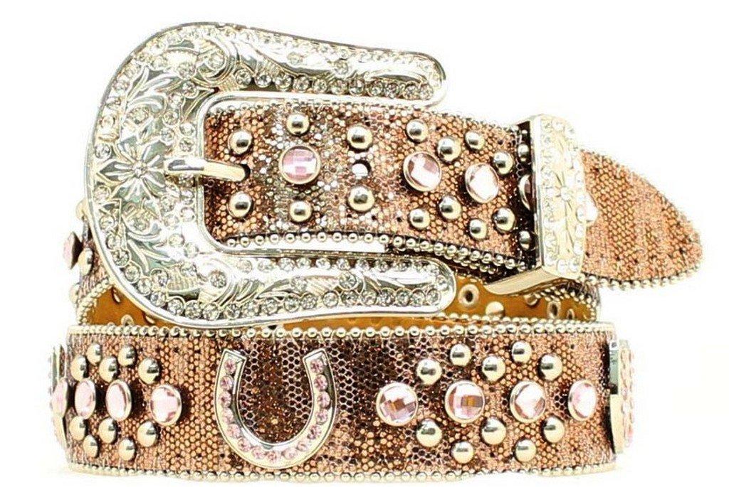 Nocona Girl's Horseshoe Conchos Belt, Brown, 26