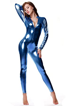 NIliker Women s Shiny Liquid Metallic Wet Look Zipper Front Catsuit  (OneSize 698c36e4b