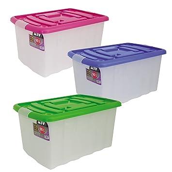 MSV 343 - Caja de almacenaje con Ruedas (plástico, 50 L), Transparente: Amazon.es: Hogar