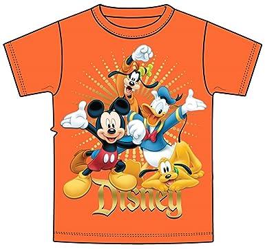 0dbd4e997d T-Shirt de la jeunesse Fab 4 Hourra Mickey Dingo Donald Pluto Orange (Petit