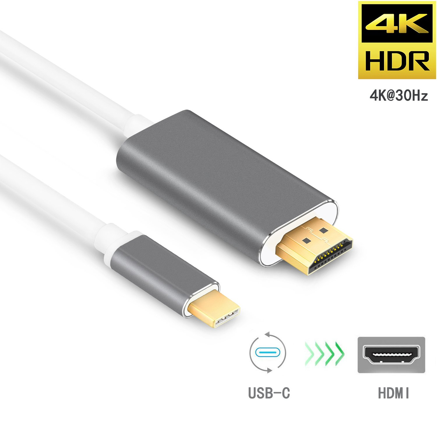 VICTEK USB-C to HDMI Cable 5.9ft/1.8m (Thunderbolt 3 Compatible), USB 3.1 Type-C Male to HDMI Male Cable 4K@30Hz Adapter Cable for 2016 MacBook Pro, 2015 Macbook, Samsung Galaxy S8/S8+