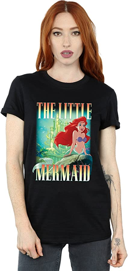 Disney Little Mermaid Floral Moon Logo Womens Juniors T-Shirt