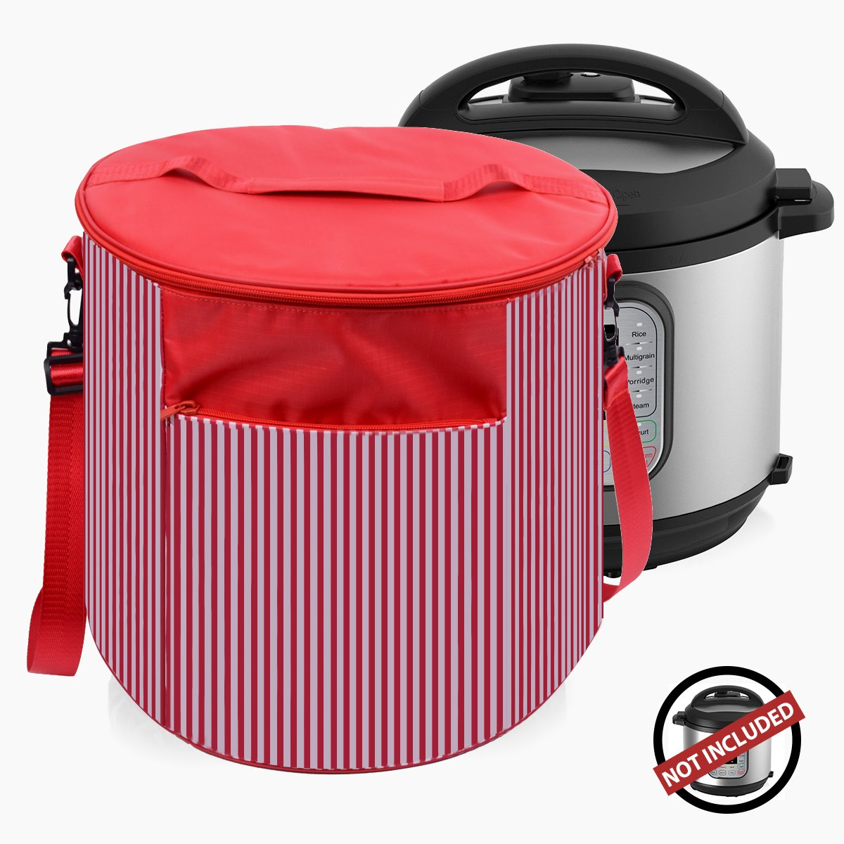 WERSEA Pressure Cooker Cover for 6 Quart Instant Pot, Appliance Dust Cover Travel Carrying Bag with Pocket for Accessories