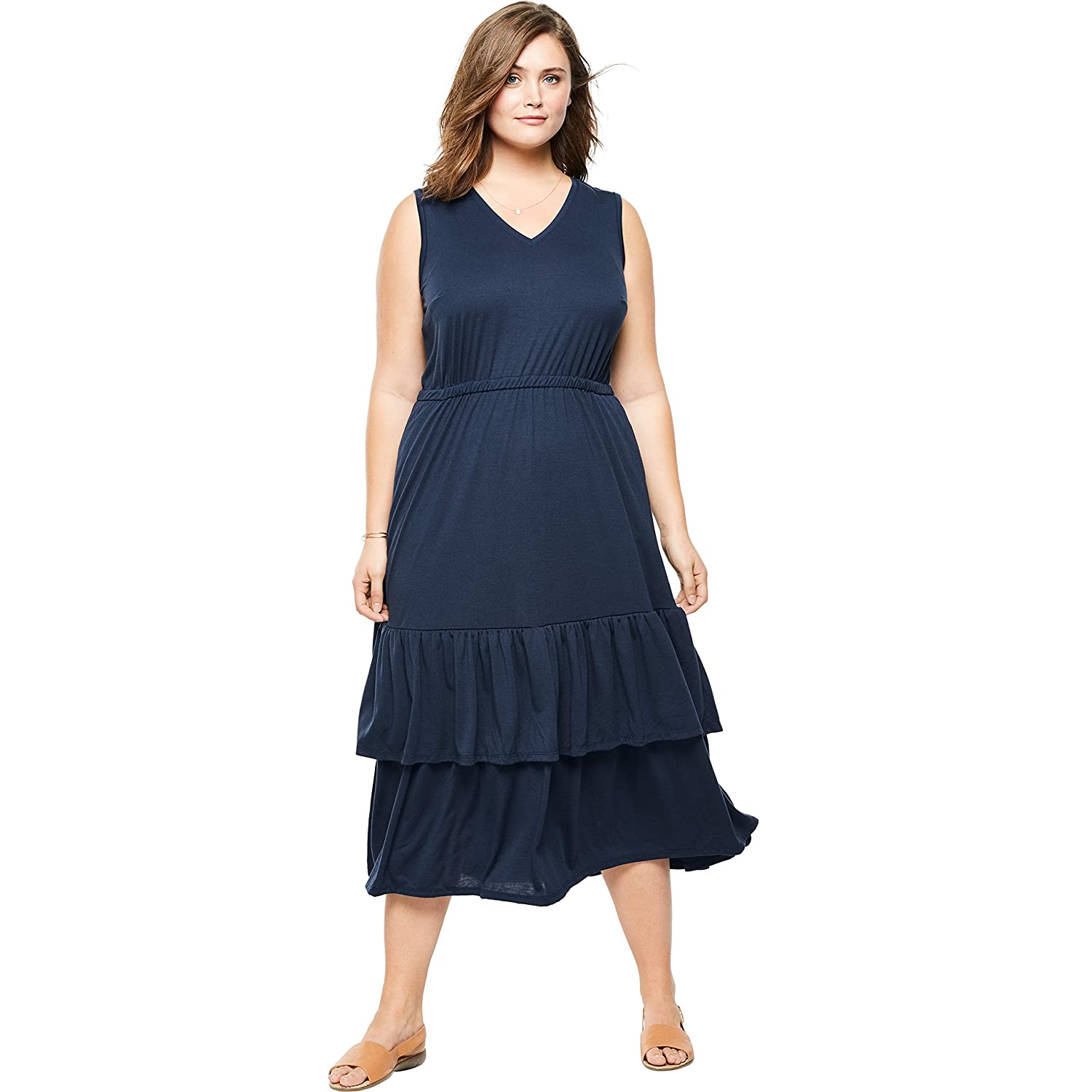 6e7b6c05e1010 Woman Within Women's Plus Size Tiered Hem Sleeveless Dress