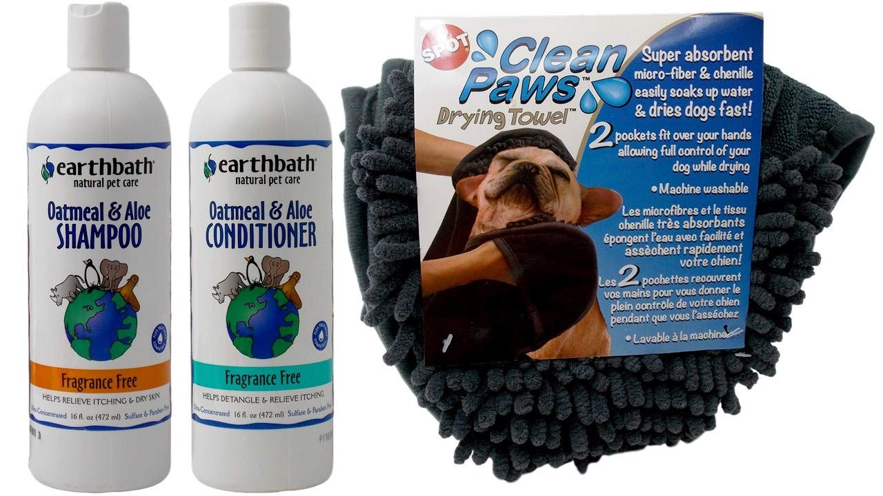 Earthbath Dog Cat Fragrance Free Oatmeal Aloe Shampoo and Conditioner Plus Drying Towel Grooming Bundle for Itching Dry Skin (16 Ounces)