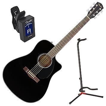Fender 0961704006 cd-60sce Solid Top negro Acústica Guitarra eléctrica w/stand y sintonizador