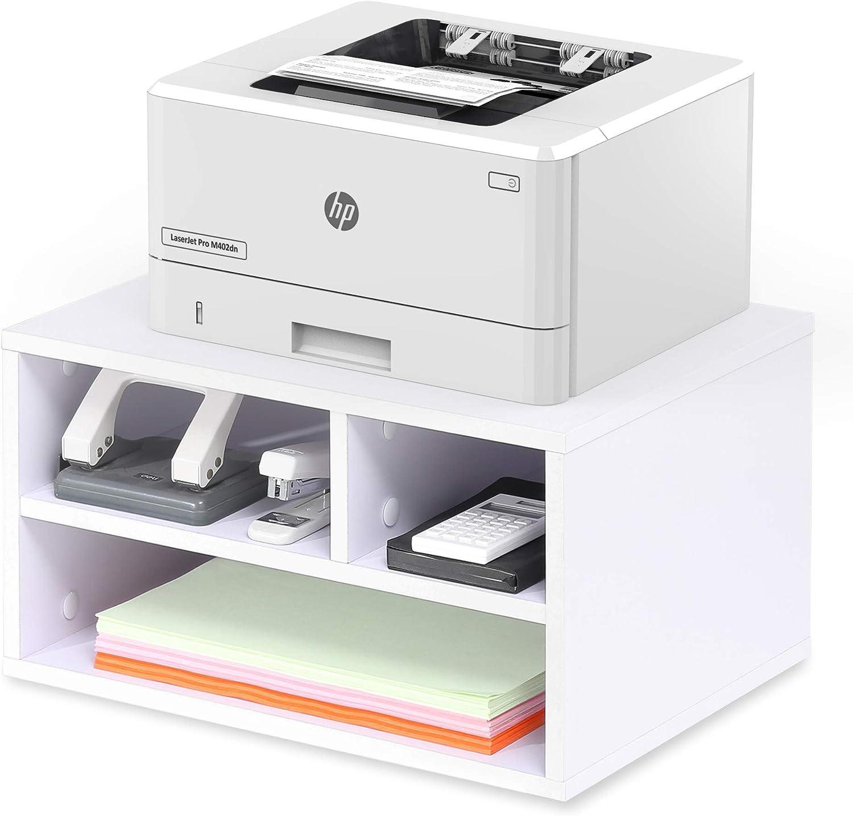 4 scomparti con ruote colore: Bianco FITUEYES PS404005WW 40 x 30 x 48,5 cm Supporto per stampante in legno